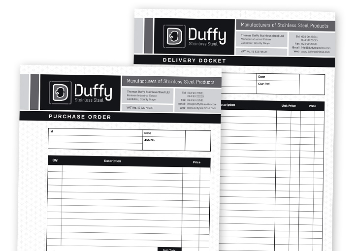 Duffy Stainless Steel stationery design - docket books