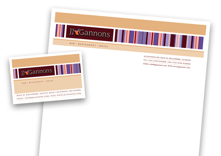 JJ Gannons stationery design - business card and letterhead