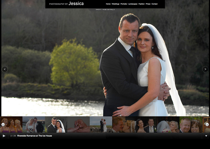 Photography by Jessica website design