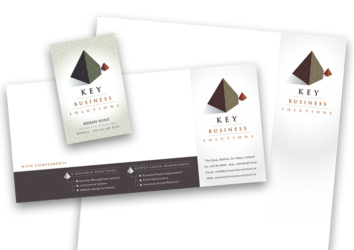 Key Business SOlutions stationery design - business card, comp slip and letterhead