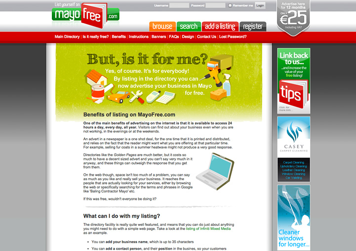 MayoFree website design