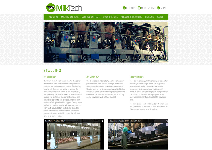 MilkTech website design