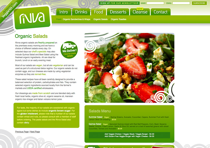 Cafe Rivva wesbite design
