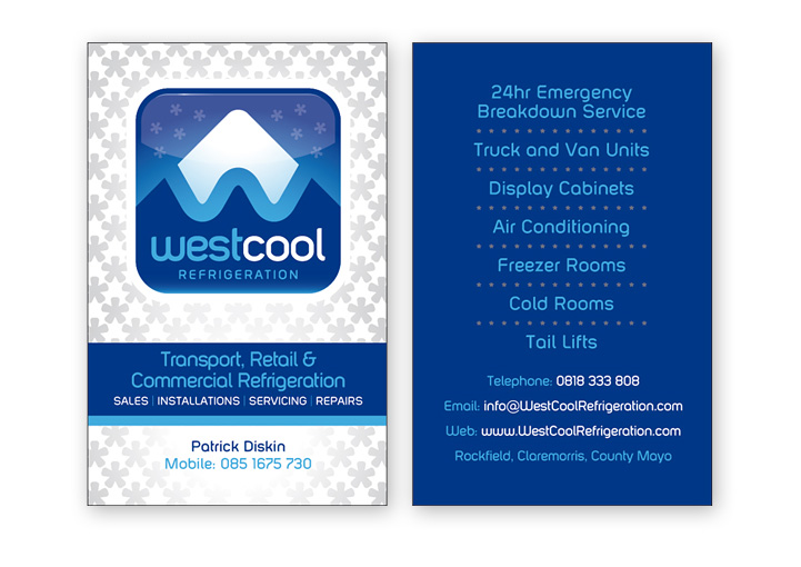 WestCool Refrigeration business card design