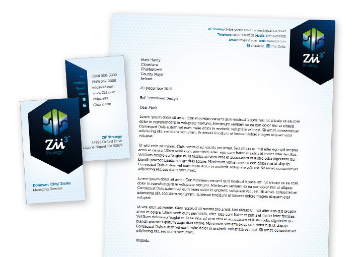 Zii3 Strategy stationery design - business card and letterhead